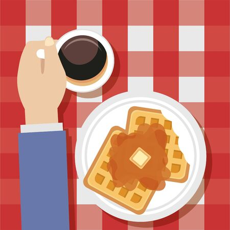 man taking breakfast cooking waffle syrup coffee vector illustration
