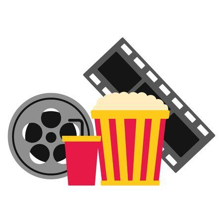 pop corn reel soda pop corn cinema movie vector illustration Иллюстрация