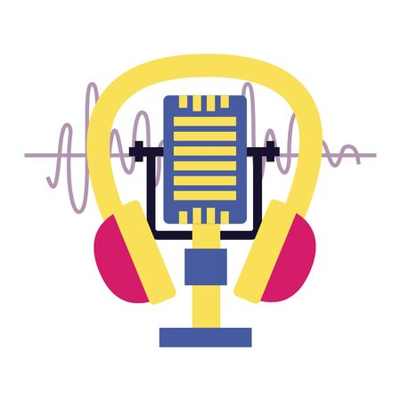 microphone and headphone music festival vector illustration Фото со стока - 130132329