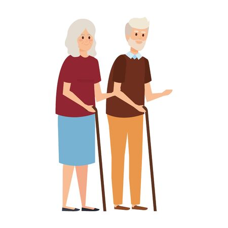 old couple with canes characters vector illustration design Фото со стока - 130128027