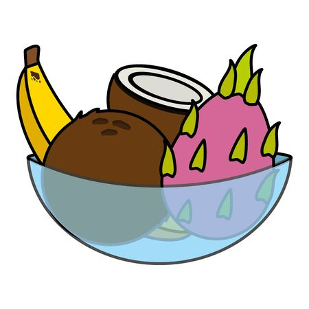 bowl crystal with dragon fruit coconut banana tropical fruits vector illustration