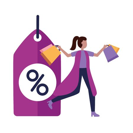 man and woman shopping bag commerce vector illustration Illustration