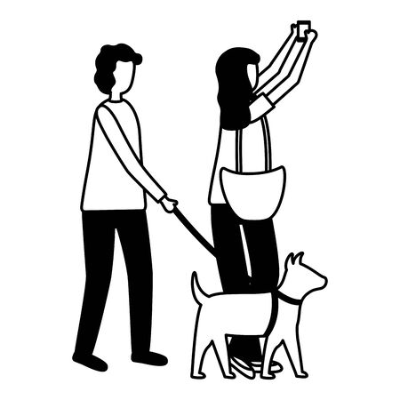 woman taking selfie and man with dog activity outdoors vector illustration