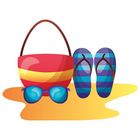 summer time holiday bag sunglasses flip flops vector illustration