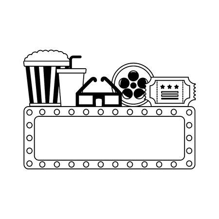 billboard 3d glasses reel ticket pop corn cinema movie vector illustration