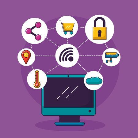 ordinateur wifi connexion gratuite shopping sécurité cloud partager la navigation vector illustration