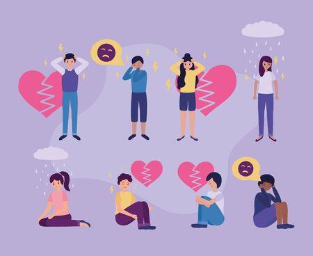 guys emotional depressed stressed mental disorder vector illustration