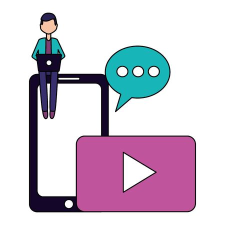 man laptop mobile chat devices social media vector illustration 일러스트
