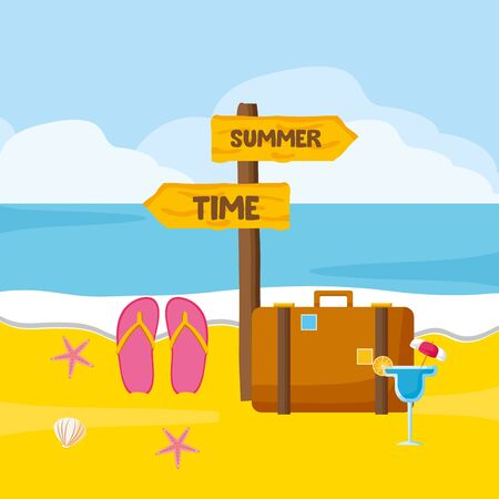 summer time holiday beach suitcase flip flops cocktail palm vector illustration