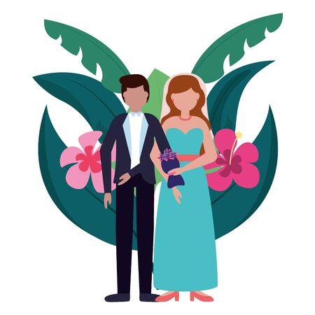 groom and bride flowers leaves wedding vector illustration Иллюстрация
