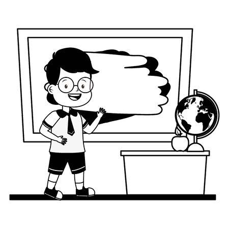 boy student chalkboard desk map apple back to school vector illustration