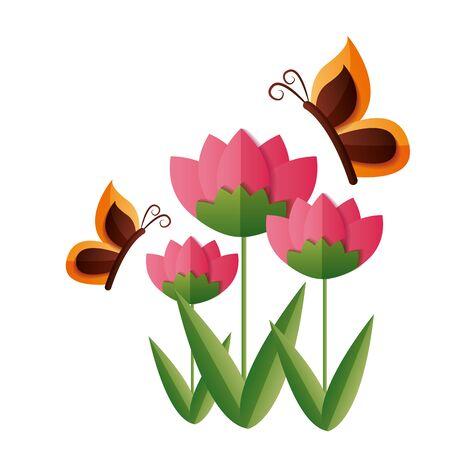 flower butterfly decoration ornament vector illustration design Foto de archivo - 130133921