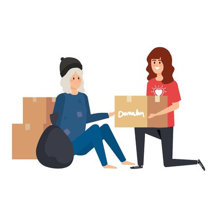 woman volunteer giving a homeless woman donations box vector illustration design Ilustração