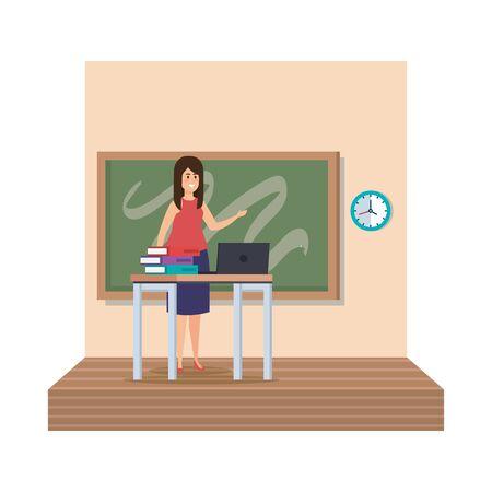teacher female in desk with laptop and books classroom scene vector illustration  イラスト・ベクター素材