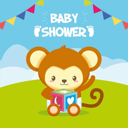 monkey with cube baby shower card vector illustration