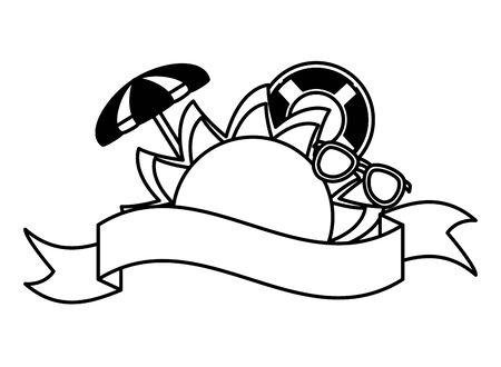 summer time holiday sunglasses sun umbrella float lemon shell ribbon vector illustration Ilustração