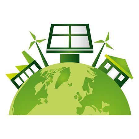 world solar panel factory house windmill eco friendly environment vector illustration