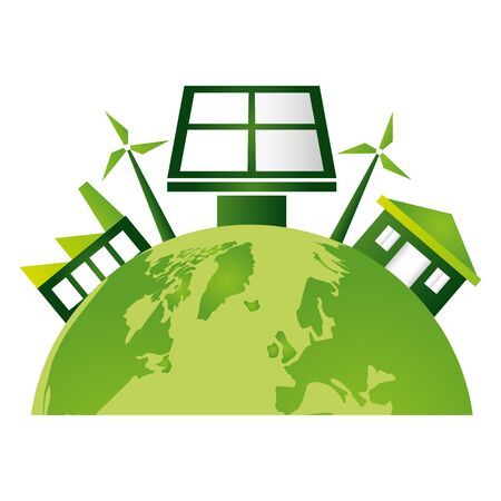 world solar panel factory house windmill eco friendly environment vector illustration Archivio Fotografico - 130147049