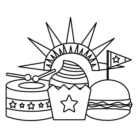cupcake burger and drum american happy independence day vector illustration