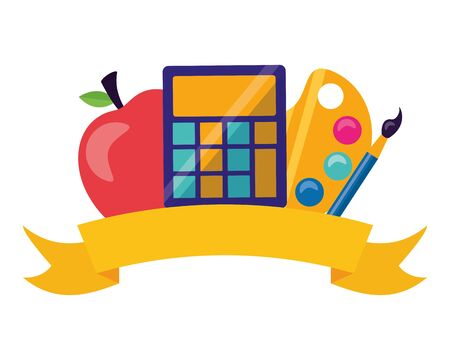 calculator apple palette color emblem back to school vector illustration 写真素材 - 130147044