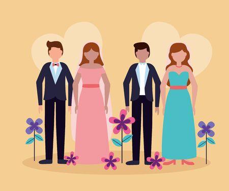couples wedding love flowers decoration vector illustration Foto de archivo - 130138656