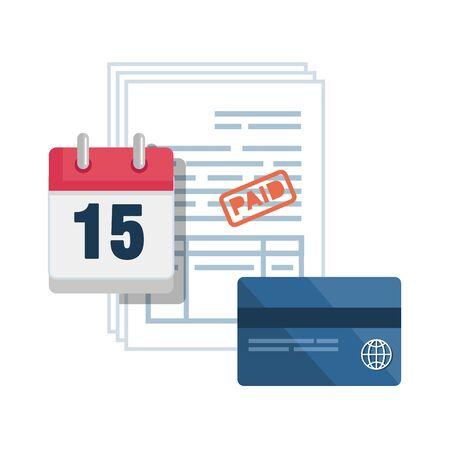 documents fiscaux avec calendrier et conception d'illustration vectorielle de carte de crédit