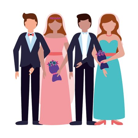 couples wedding brides and grooms vector illustration