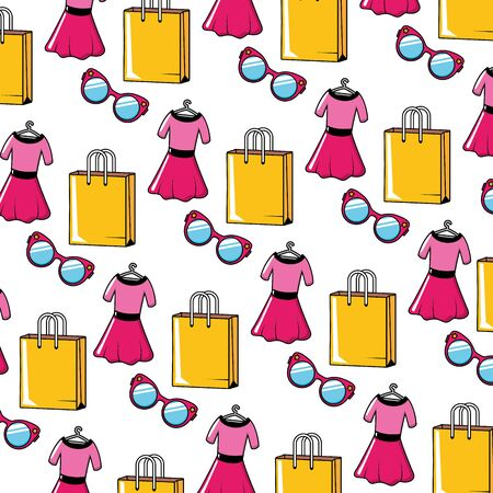 background dress eyeglasses bags pop art elements vector illustration Stock Vector - 130147080