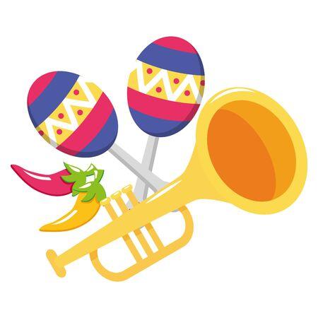 trumpet and maracas musical instruments vector illustration design 向量圖像