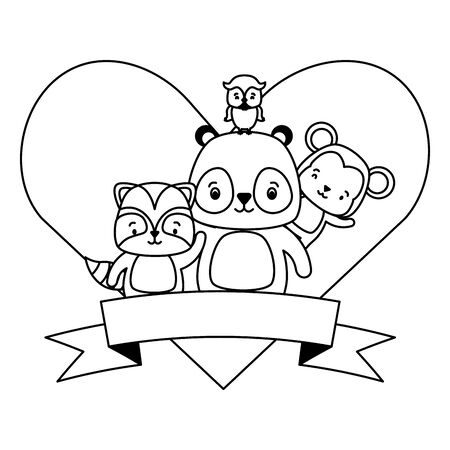 cute monkey panda raccoon owl animals heart love ribbon vector illustration