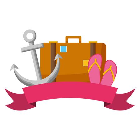 summer time holiday suitcase anchor sandals ribbon vector illustration