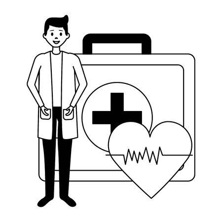 medical people staff medical suitcase heartbeatvector illustration