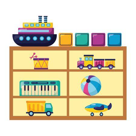 kids toys shelf with truck piano ball plane boat blocks drum vector illustration