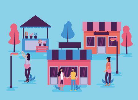 Menschen Aktivitäten im Freien Stadt Handel Markt Straße Vektor-Illustration