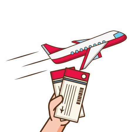 Ilustración de vector de boletos de avión de mano de avión de vacaciones de verano Ilustración de vector