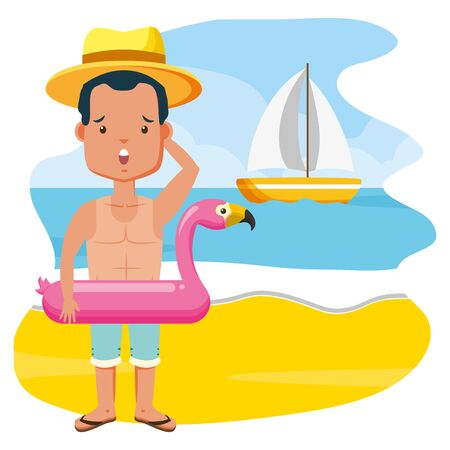 summer time people  man wear flamingo float in the beach vector illustration