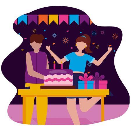 man and woman party cake birthday celebration vector illustration Illusztráció