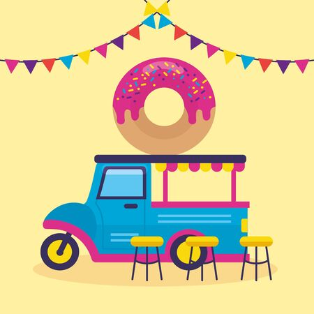 food truck donut pennants outdoor vector illustration
