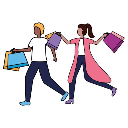 man and woman with shopping bags vector illustration Stock Vector - 130147119