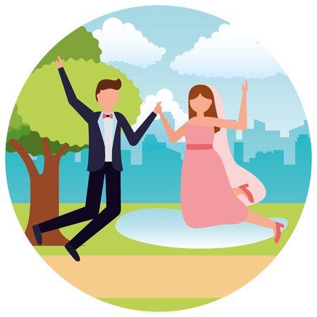 bride and groom wedding day vector illustration