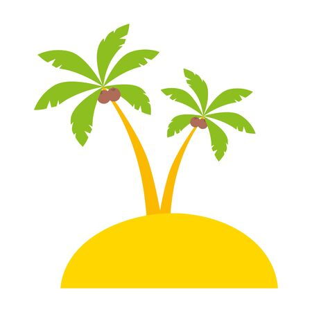 beach palms sand vacations image  vector illustration