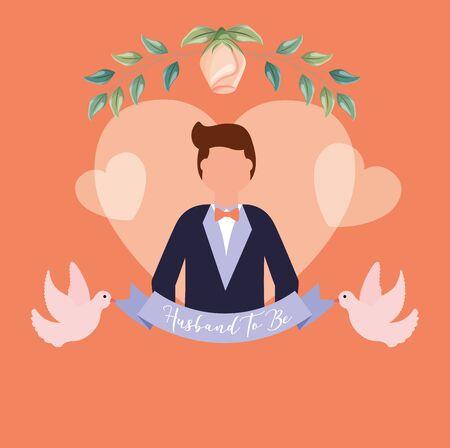 Groom avatar design, Wedding marriage love celebration invitation and engagement theme Vector illustration