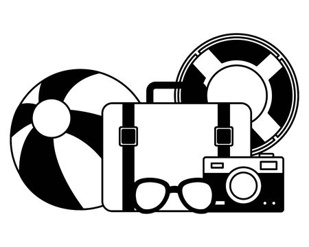 summer time holiday suitcase beachball camera sunglasses lifebuoy vector illustration