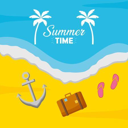 summer time holiday beach poster suitcase anchor top view Ilustração