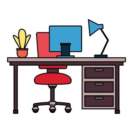 office desk chair laptop lamp plant drawers workplace vector illustration Ilustração