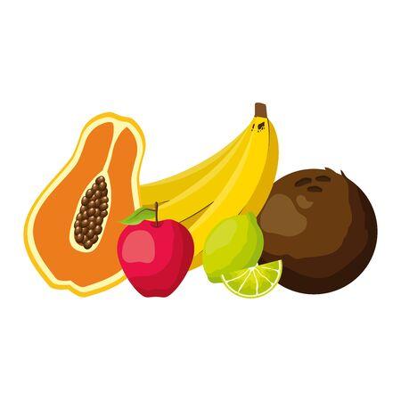 papaya banana lemon apple coconut tropical fruits vector illustration