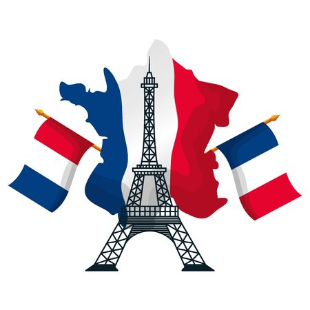 eiffel tower with flags of france map happy bastille day flat design vector illustration