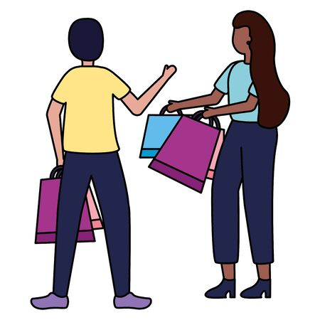 man and woman with shopping bags vector illustration Stock Vector - 130147147