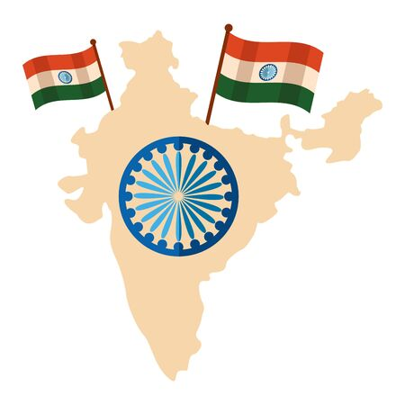 indian flags with map and ashoka chakra vector illustration design