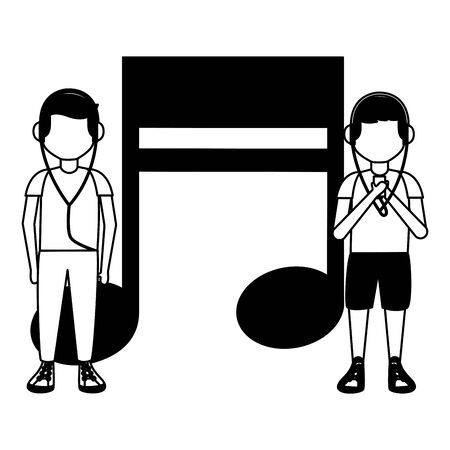 boys with headphones listening music vector illustration